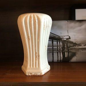 Vintage Ivory Ribbed Drip Glazed Pottery Vase
